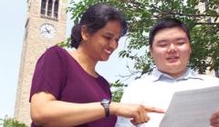 Prof Bala helping a student