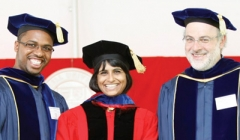 Prof Weatherspoon and Prof Birman smile at graduation with a student